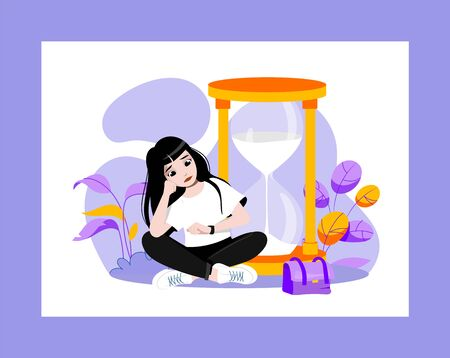 Waiting Concept. Young Attractive Sad Girl Is Waiting For Something Sitting Near Huge Hourglasses And Looking At Hand Watch. Displeased Woman Wait In A Queue. Cartoon Flat Style. Vector Illustration. Çizim