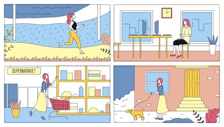 Concept Of Everyday Leisure Of Young Woman. Bundle Of Daily Life Scenes. Girl Is Jogging, Shopping In Supermarket, Walking With Dog And Working In Office. Cartoon Flat Style Vector Illustrations Set
