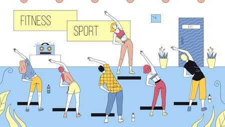 Concept Of Fitness, Health care And Active Sport. Group Of People Exercise In Gym Looking At Trainer. Characters Are Taking Fit Classes Together. Cartoon Linear Outline Flat Style Vector Illustration