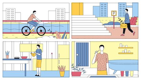Everyday Leisure And Work Activities Concept Of Man. Bundle Of Daily Life Scenes. Boy Is Cooking Meal In Kitchen, Riding Bicycle, Washing Teeth, Going To Work. Cartoon Flat Vector Illustrations Set