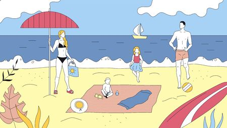 Concept Of Family Leisure And Joint Pastime. Father, Mother, Daughter And Son Spend Time Together On The Ocean Coast. People Relax, Rest, Swim In Sea And Play Activity Games. Flat Vector Illustration
