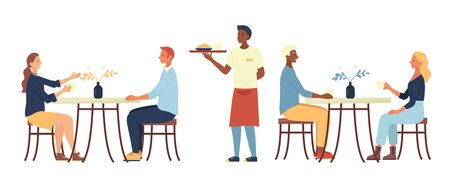 Concept Of Lunchtime. People Are Sitting In Cozy Urban Cafe, Drink Coffee, Eat Dinner. The Waiter Brings The Order. Characters Are Communicating And Have A Good Time. Cartoon Flat Vector Illustration.