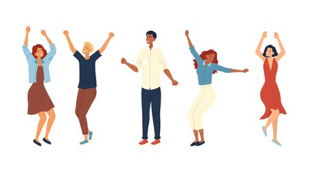 Dance Party Concept. Group Of Fashion People Are Dancing Together. Satisfied Characters In Different Dance Poses. Smiling Young Men and Women Enjoying Dance Party. Cartoon Flat Vector Illustration.