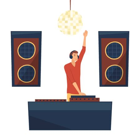 Dance Party Concept. DJ wearing Headphones and Scratching a Record On Turntable. Famous Dj Plays Modern Music. Dance Night Club Interior With Professional Lighting. Cartoon Flat Vector Illustration Vettoriali