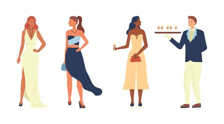 Concept Of Fashion. Handsome Young Beautiful Girls In Evening Gowns On Club Party. Waiter With a Tray Delivers Drinks. Privat Party With Guests And Service. Cartoon Flat Style. Vector Illustration
