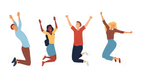 Set Of Jumping Happy People. Young Funny Teens Boys And Girls Jumping Together. Joy Lifestyle And Symbol Of Happy And Success In Studying, Business Or Personal Life. Cartoon Flat Vector Illustration.