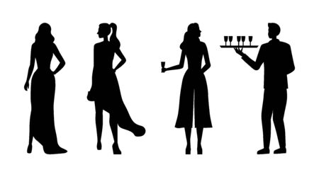 Handsome Young Fashion Beautiful Girls Silhouettes In Evening Gowns On Club Party. Waiter With a Tray Delivers Drinks. Privat Club Party With Guests And VIP Service. Cartoon Flat Vector Illustration