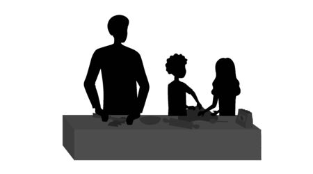 Family Cooking Concept. Happy Family Is Cooking Meal In Kitchen. Father With Children Silhouettes Cook Pizza And Enjoying Time Together During Weekend Or Holidays. Cartoon Flat Vector Illustration