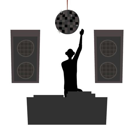 Dance Party Concept. Silhouette Of DJ In Headphones, Scratching a Record On Turntable. Famous Dj Plays Modern Music. Dance Night Club Interior With Speakers. Cartoon Flat Style. Vector Illustration