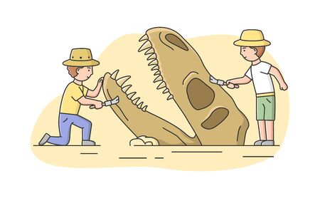 Archeology Excavation Concept. Men Archaeologists Making Excavation Of Ancient Remains Of Dinosaur in Antique Ruins. People Exploring Ancient Culture. Cartoon Linear Outline Flat Vector Illustration Ilustração
