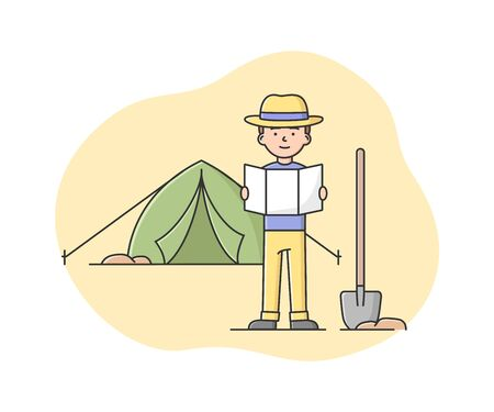 Concept Of Archaeologist Excavations. Man Archeologist Looking On Map And Look For Places For Excavations. Archaeology job And Ancient Civilisation. Cartoon Linear Outline Flat Vector Illustration.