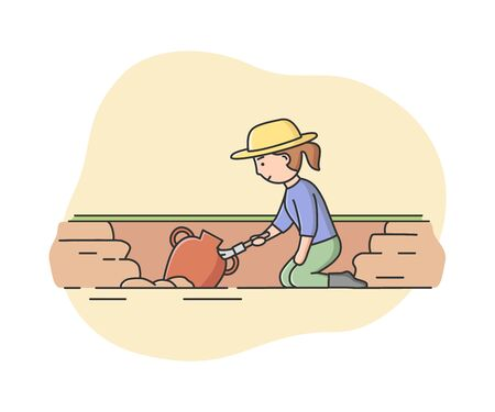 Concept Of Archeology Excavation. Archaeologist Woman Paleontology Scientist Working on Excavations. Female Character Has Found Important Artifact. Cartoon Linear Outline Flat Vector Illustration