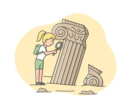 Concept Of Archaeologist Excavations. Woman Archaeologist Looking On Old Columns, Remains Of Architecture. Archaeology job And Ancient Civilisation. Cartoon Linear Outline Flat Vector Illustration Ilustração
