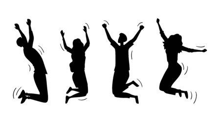 Springende glückliche Leute eingestellt. Silhouetten von jungen lustigen Teenager-Jungen und Mädchen, die zusammen springen. Joy Lifestyle, glücklich und erfolgreich im Studium, im Geschäft oder im Privatleben. Cartoon-flache Vektor-Illustration.