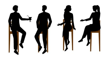 People Communications Concept. Silhouettes Of People Have A Good Time Communicating Sitting On Bar Chairs. Male And Female Characters Talking, Drinking Cocktails. Cartoon Flat Vector Illustration
