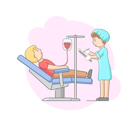 Concept Of Health Care And Blood Transfusion. Volunteer Donate Blood In Laboratory. Nurse In Uniform Controls The Procedure And Makes Notes. Cartoon Linear Outline Flat Style. Vector Illustration
