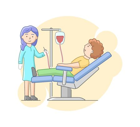Health Care And Blood Transfusion Concept. Nurse Helps Volunteer To Donate Blood In Laboratory Or In Hospital. Male Character Lies On Bed Under Drip. Cartoon Linear Outline Flat Vector Illustration