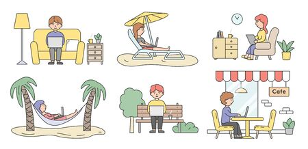 Freelance Work, Brainstorm And Self-Employment Concept. Set Of Busy Freelancers Handsome People Men And Women Working On Laptops In Different Places. Cartoon Linear Outline Flat Vector Illustration