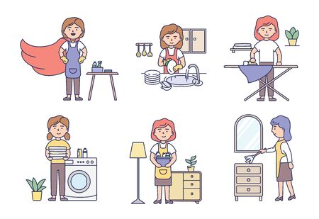 Professional Cleaning Service And Housework Concept. Set Of Women Housewives In Uniform Make Housework Using Cleaning Products And Work Tools. Cartoon Outline Linear Flat Style. Vector Illustration