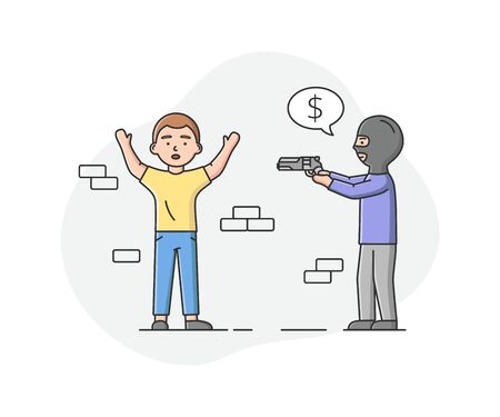 Concept Of Urban Security and Robbery. Crime And Chaos On The Streets. Aggressive Robber In Balaclava Is Extorting Money From Man, Pointed The Gun At Him. Cartoon Linear Outline Vector Illustration
