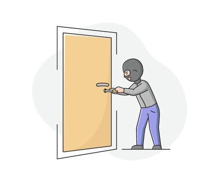 Concept Of Urban Security and Robbery. Crime And Chaos On The Streets. Robber Burglar In Balaclava Is Trying To Break In The Door And Rob The Apartment. Cartoon Linear Outline Vector Illustration