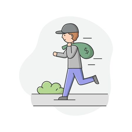 Concept Of Urban Security and Robbery. Crime And Chaos On The Streets. Robber Is Running By The Street With Bag Of Money. Male Character Robbed Bank Cartoon Linear Outline Flat Vector Illustration Stok Fotoğraf - 149191199