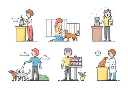 Animal Care Concept. Male And Female Characters Take Care And Look After Domestic Animals. People Walk, Groom, Visit Exhibitions, Treat Dogs And Cats. Cartoon Linear Outline Flat Vector Illustration