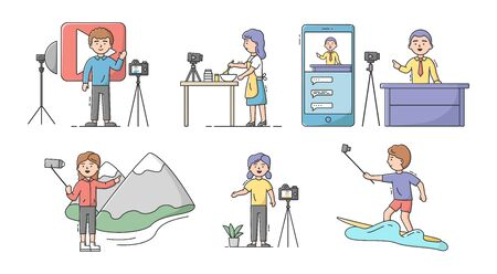 Video Blog Concept. Set Of Young Attractive Men And Women Make Vlogs On Different Topics. Live Streaming, Social Media Network Bloggers Collaboration. Cartoon Linear Outline Flat Vector Illustration Stock Illustratie