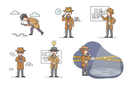 Private Detective Concept. Set Of Young Cartoon Detectives With Tools In Different Situation. Characters Do Their Job. Process Of Searching Evidences. Cartoon Linear Outline Flat Vector Illustration