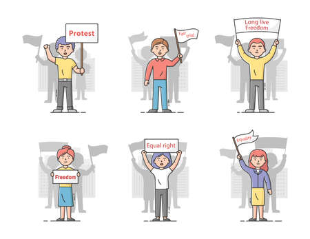 Concept Of Mass Protest Action. Set Of Dissatisfied People With Protest Banners Complaining And Taking Part In Strike. Characters Defend Their Rights. Cartoon Linear Outline Flat Vector Illustration