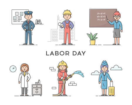 Set Of People Different Professions. Labor Day Holiday. Policeman, Constructor Worker, Teacher, Doctor, Stewardess And Fireman. Professional Workers. Cartoon Linear Outline Flat Vector Illustration