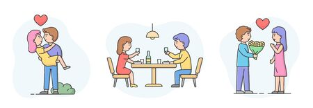 Concept Of Romantic Relationships. Set Of Man And Woman Couples In Love. Excited Girl Is Looking At Boy. Couples in love Have Romantic Date Together. Cartoon Linear Outline Flat Vector Illustration Vettoriali