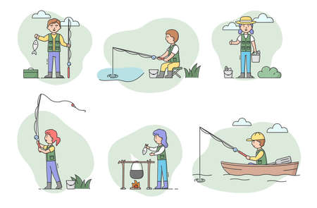 Concept Of Fishing And Rest. Set Of Men And Women Fisher People Cooking And Catching Fish With Spinning. Sport Outdoors Leisure or Relaxation Hobby. Cartoon Linear Outline Flat Vector Illustration
