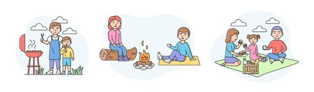 Family Picnic Time Concept. Set Of Families Spending Time Together Outdoors. Characters Communicate And Have Good Time Together On Vacations. Cartoon Linear Outline Flat Style. Vector Illustration.