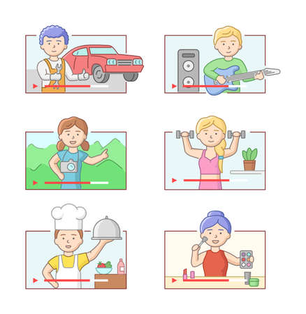 Concept Of Vlog And Blog. Set Of Bloggers And Vloggers People Making Different Internet Content. Characters Create Videos For Blogs Or Vlogs Review. Cartoon Linear Outline Flat Vector Illustration