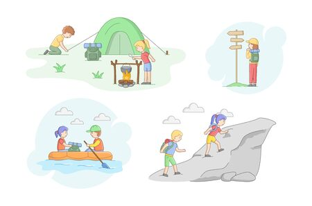 Camping Tourism Concept. Set Of Scenes With Tourists. Male And Female Characters With Backpacks Go Hiking, Boating, Cooking Food On Fire, Tent. Cartoon Linear Outline Flat Style. Vector Illustration.
