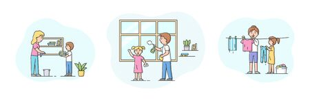 Concept Of Parenting And Cleaning Apartments. Set Of Scenes Of Adults With Children Cleaning Apartments And Laundering. People Clean Window, Bookshelf. Cartoon Linear Outline Flat Vector Illustration.