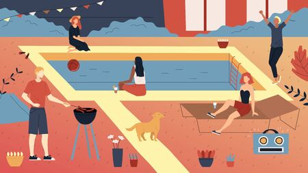Concept Of Privat Party. Group Of People or Teens Enjoying Spending Time Together. People Making Barbeque, Swimming In The Pool, Relax, Having A Good Time. Cartoon Flat Style. Vector Illustration