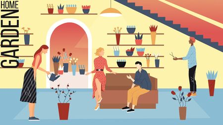 Modern Flower Shop Concept. People Choose Beautiful Bouquets In Florist Store. Male And Female Characters Take Care Of Plants And Make Garden At Home. Cartoon Linear Outline Flat Vector Illustration.