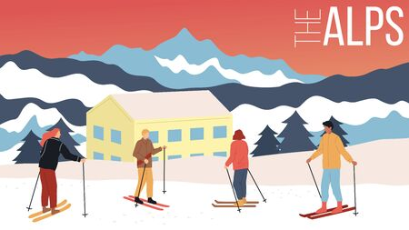 Concept Of Skiing, Winter Tourism. Group Of People In Equipment Skiing In Alps. Beauitiful View On Mountains With Downhills, Family Hotel And Exciting Nature. Cartoon Flat Style Vector Illustration