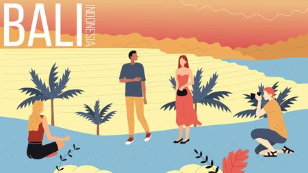 Concept Of Travelling To Asia, Bali Sightseeing. People Travel To Bali, Enjoying Views Of Island, Take Pictures and Meditate Outdoors, Have Good Time Together. Cartoon Flat Style. Vector Illustration