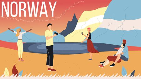 Concept Of Norway Sightseeing. People Visit Norway. Men And Women Making Selfie At Mountain And Ocean Landscape Background, Communicate And Spend Time Together. Cartoon Flat Style Vector Illustration  イラスト・ベクター素材