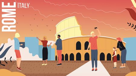 Concept Of Travelling To Italy, Rome Cityscape with Landmarks. Tourists Men And Women Booking Tour With Guide, Take A Photos, Spending A Good Time Together. Cartoon Flat Style Vector Illustration Stock fotó - 149904093