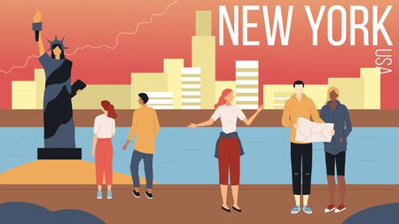 Concept Of New York City Sightseeing. People Visit New York. Male And Female Characters With City Map Visiting Famous Landmarks Of The City, Admire Landscape. Cartoon Flat Style. Vector Illustration Archivio Fotografico - 149906921
