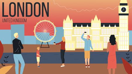 Concept Of Travelling To United Kingdom. London Cityscape with Landmarks. Tourists Men And Women Book Tour With Guide, Take A Photos, Spend Good Time Together. Cartoon Flat Style Vector Illustration Ilustrace