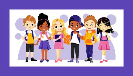 Concept Of Back To School. Multi Ethnic Teens Set. Kids Ready To Study In New Academic Year. Happy Children Standing In A Row. Boys And Girls With School Items. Cartoon Flat Style Vector Illustration Vecteurs