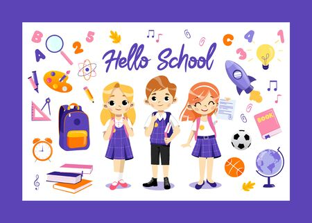 Concept Of Back To School. Set Of Kids Ready To Study In New Academic Year. Happy Children Standing In A Row. Creative Boy And Girls With School Items Infographic. Cartoon Flat Vector Illustration