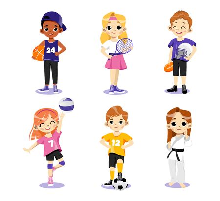 Concept Of Athletics. Multi Ethnic Teens Set. Different Type Of Sports. Children In Uniform Play Basketball, Tennis Baseball, Volleyball, Football And Karate. Cartoon Flat Style. Vector Illustration Ilustracja