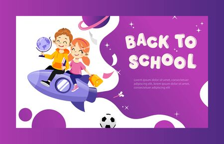 Concept Of Back To School. Kids Ready To Study In New Academic Year. Happy Classmates Boy And Girl Flying On Rocket Together Holding Globe And Book In Hands. Cartoon Flat Style. Vector Illustration. 向量圖像
