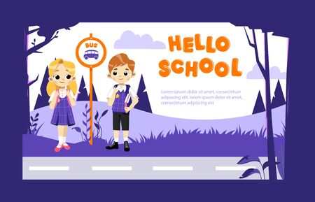 Concept Of Back To School. Kids Ready To Study In New Academic Year. Happy Classmates In Stylish School Uniform Boy And Girl Waiting For School Bus On Bus Stop. Cartoon Flat Style Vector Illustration. 向量圖像
